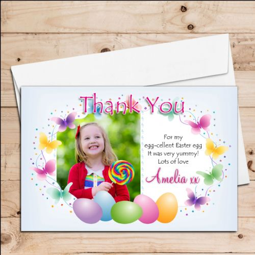 10 Personalised Girls Boys Happy Easter Egg Thank you Photo Post Cards N3
